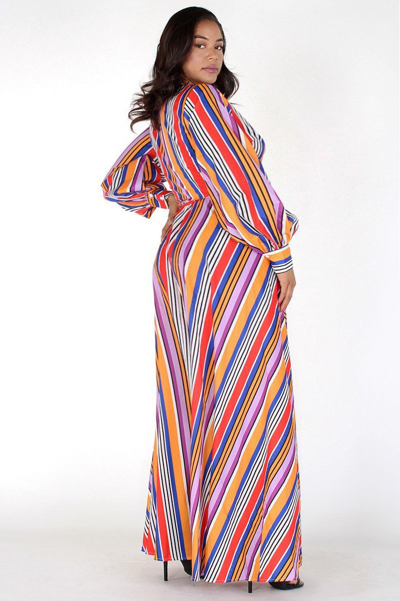 Plus Size Colorful Stripe Flowy Maxi Dress [PRE-ORDER]