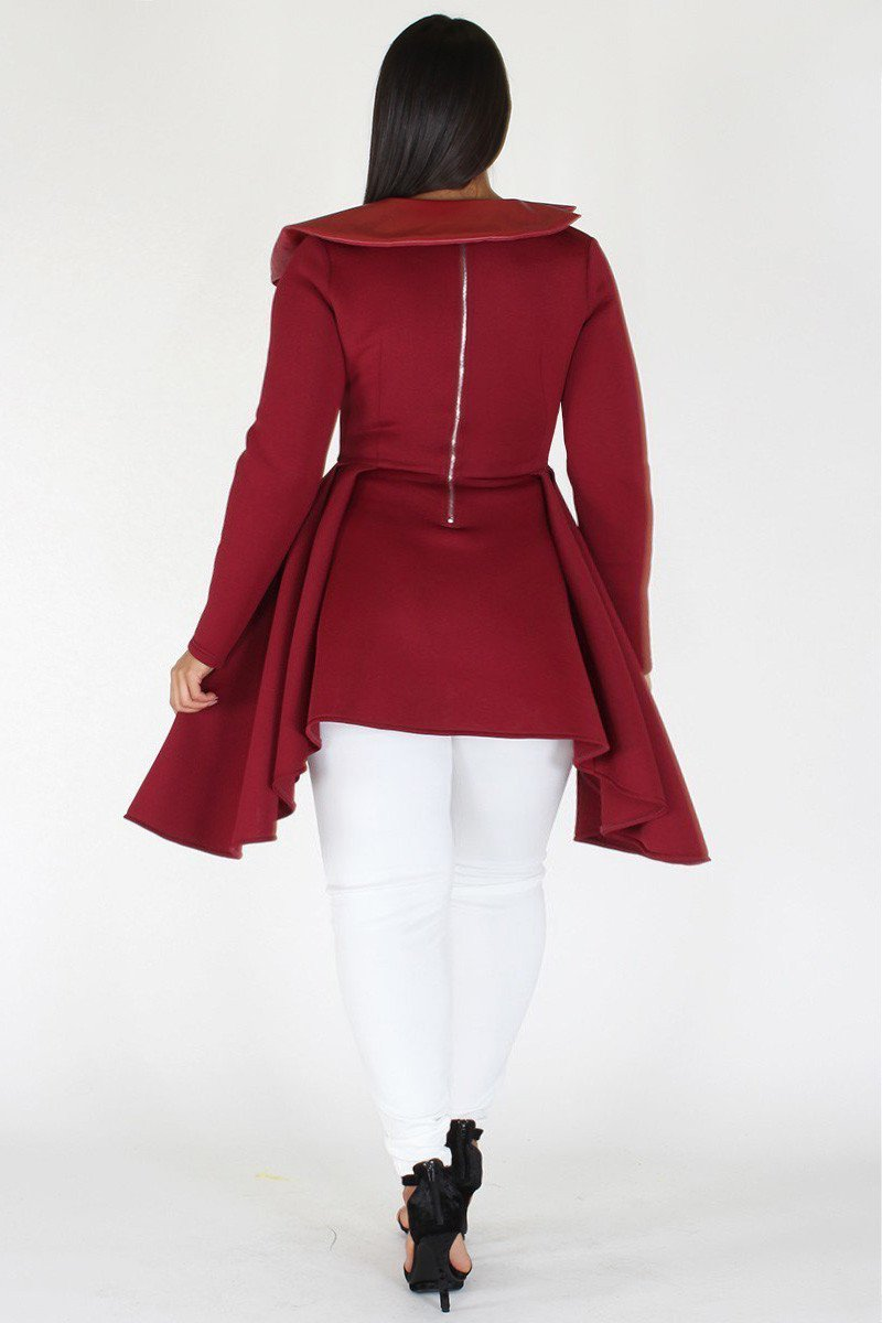 Plus Size Showstopper Designer Belted Peplum Top