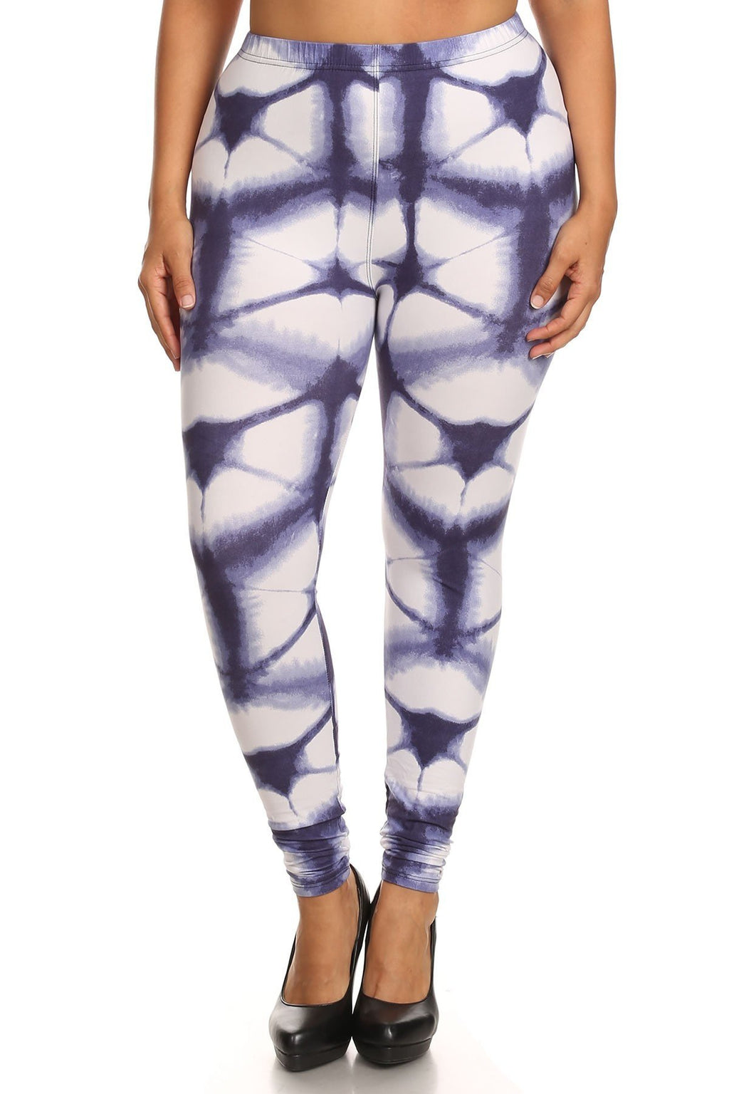 Plus Size Geometric Web Leggings