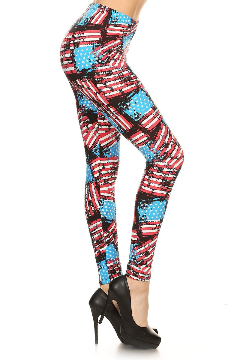 Distressed Flag Printed High Waisted Fitted Style Leggings