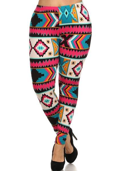 Plus Size High Waist Printed Fleece Leggings With Elastic Waist