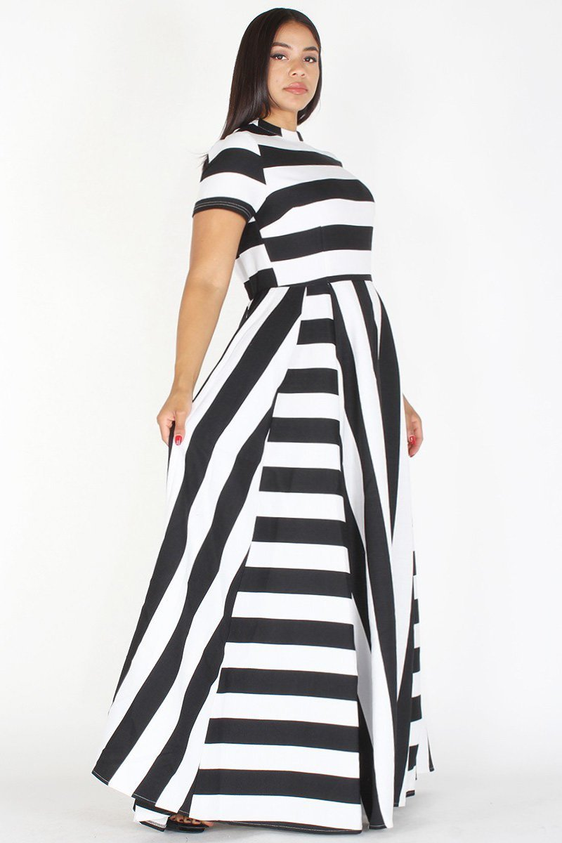 be41246a55d Plus Size Stripe Pleated Mock Neck Maxi Dress – slayboo