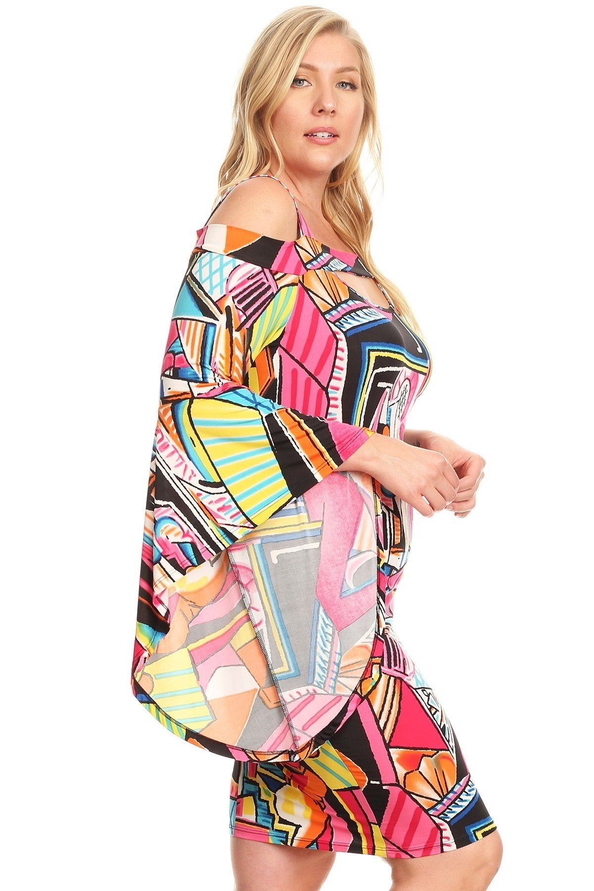 4310a9596df35 Plus Size Multi-Colored Mixed Print Short Cold Shoulder Dress – slayboo