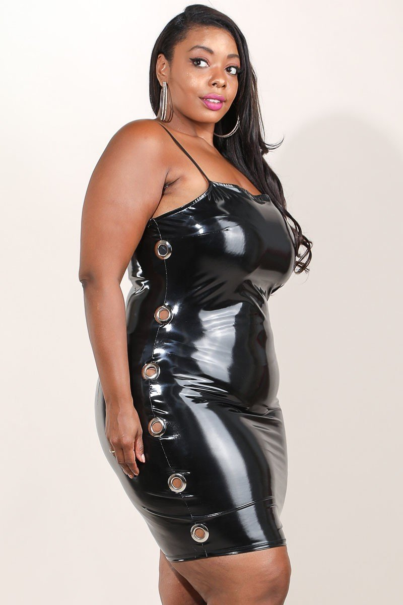 Plus Size Shiny Curvy Latex Bodycon Dress – slayboo