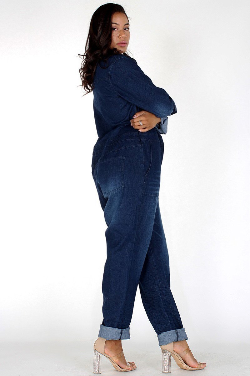 Plus Size Designer Denim Button Up Jumpsuit [PRE-ORDER]