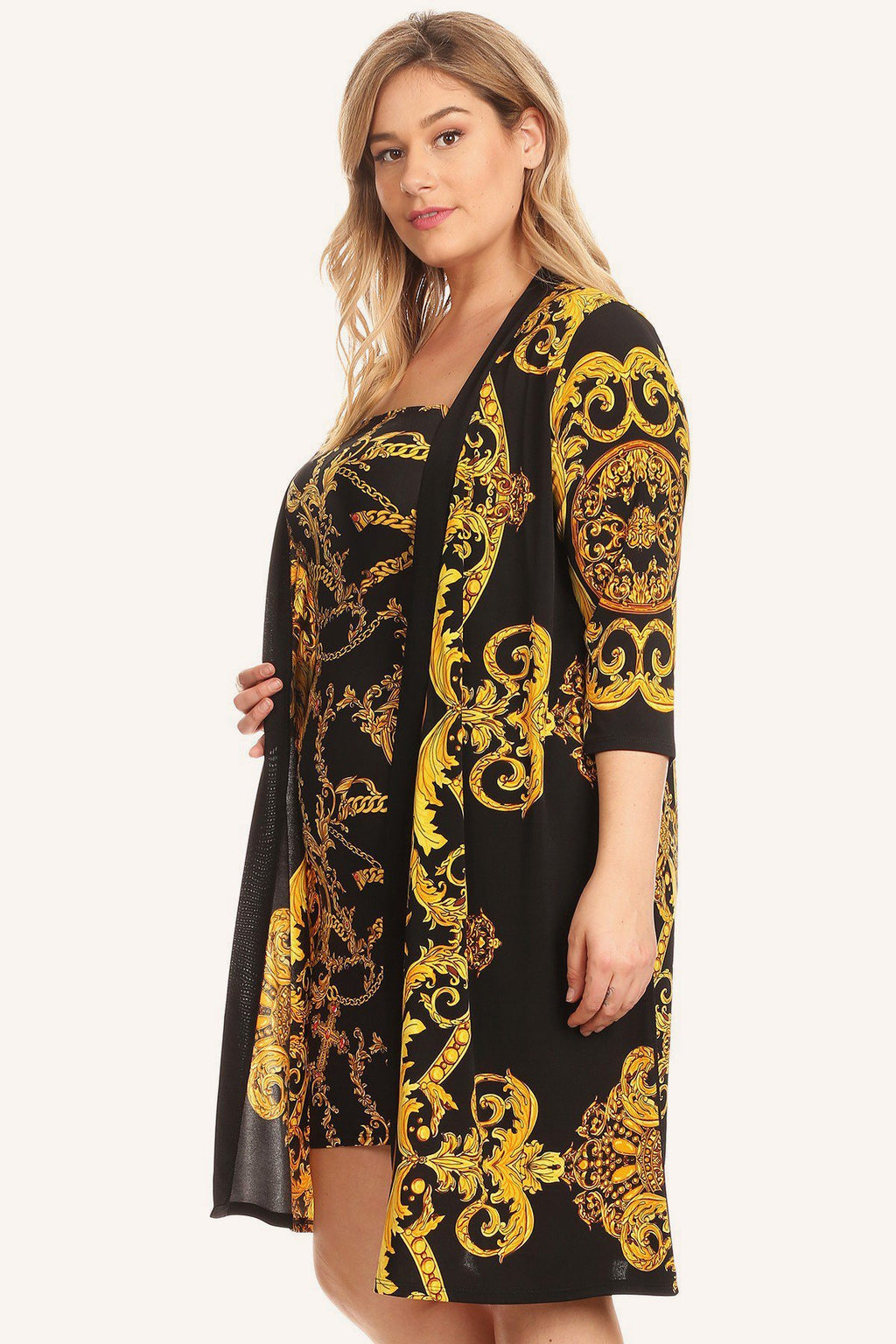 Plus Size Designer Gold Pattern Kimono Dress Set