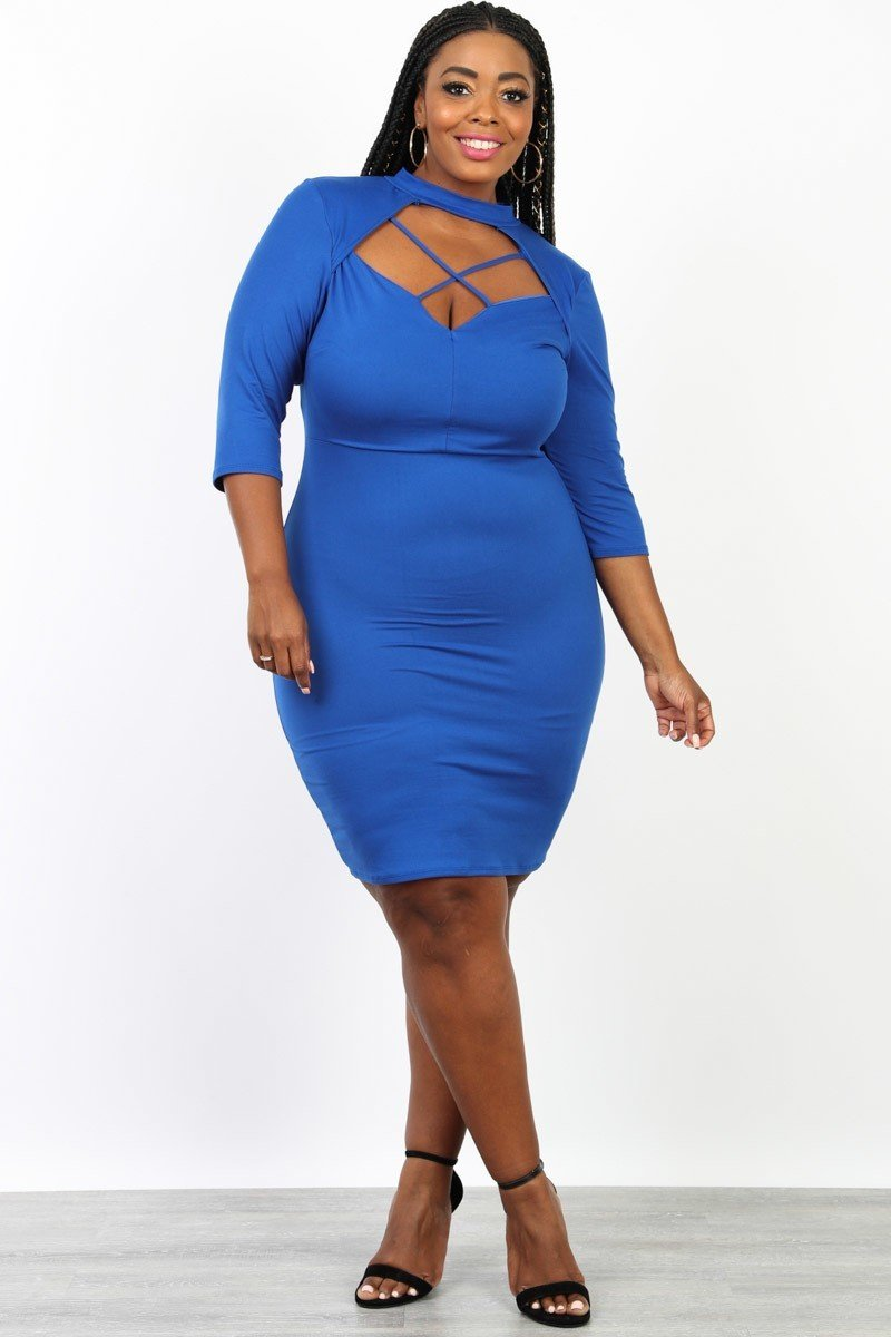 Plus Size Sexy Mock Neck Classic Bodycon Dress