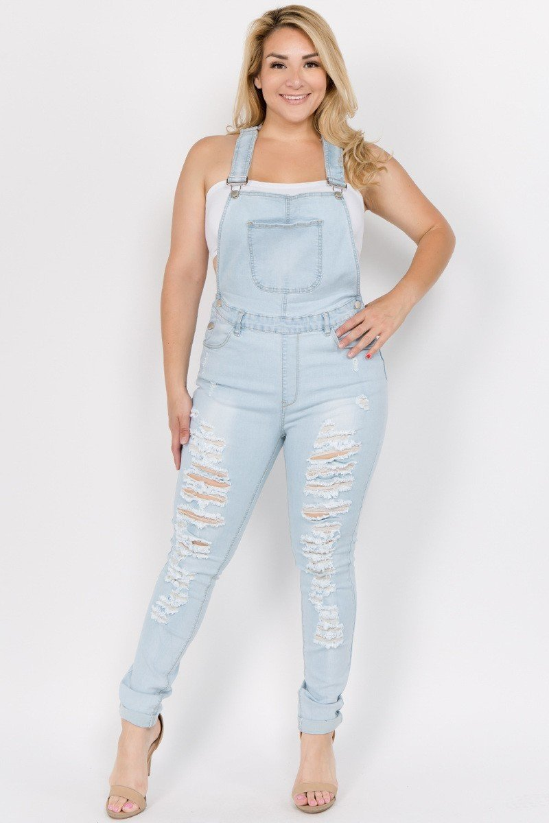 Plus Size Destroyed Jeans Demim Trendy Overalls