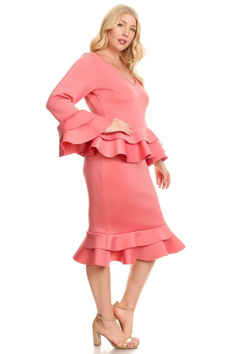 Plus Size Glam Designer Ruffle Peplum Dress