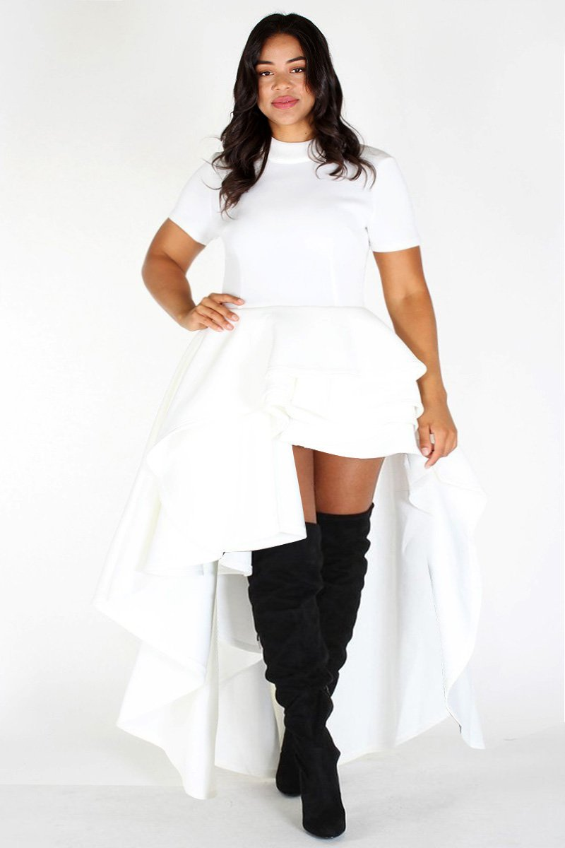 Plus Size Glam Short Sleeve Hi Low Tiered Dress White