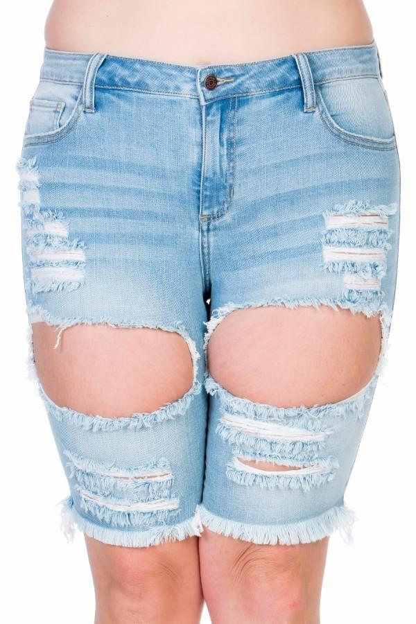 Plus Size Essential Washed Bermuda Denim Short Jeans STOCKED