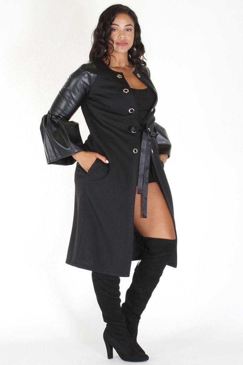 Plus Size Lace Up Faux Leather Coat