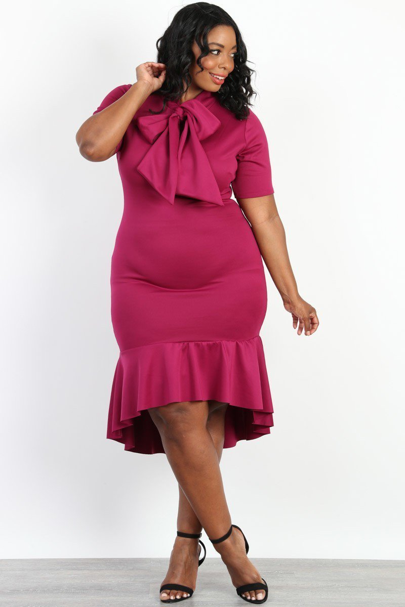Plus Size Adorable Bow Tie Ruffle Hem Dress