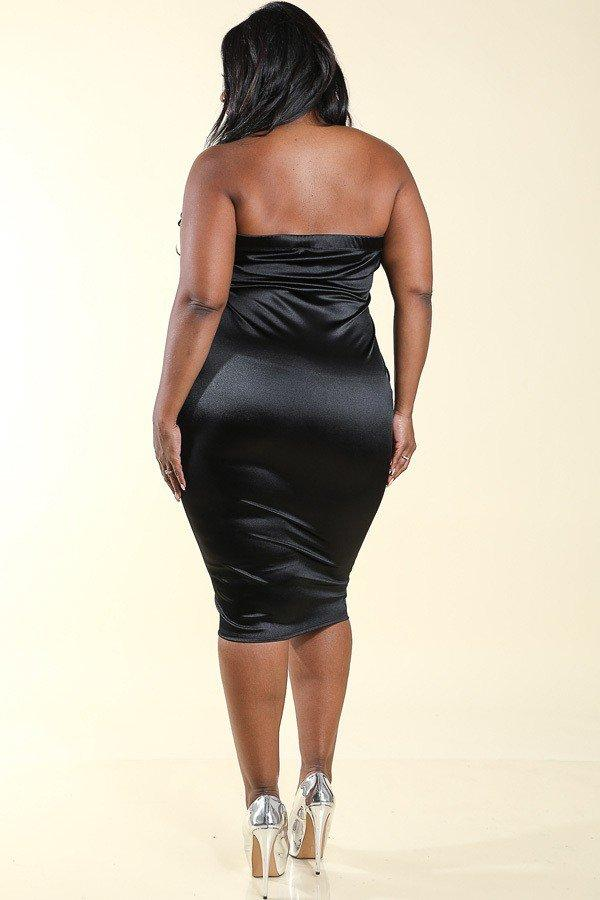 Plus Size Glamour Shine Tube Mini Dress
