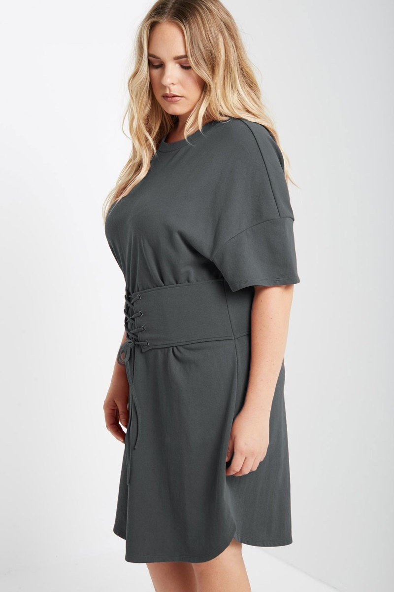 Plus Size Corset Waist Short Sleeve Sweatshirt Dress – slayboo