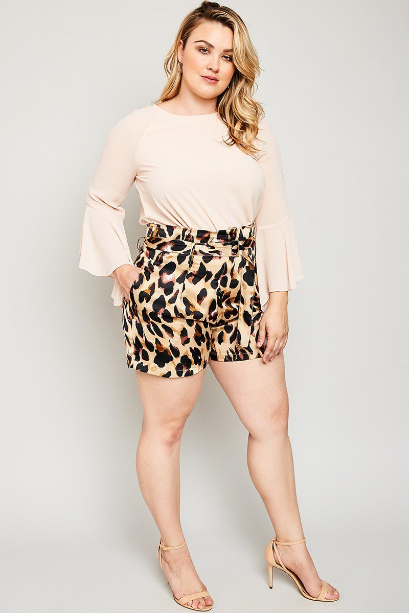 Plus Size Leopard Paper Bag Short