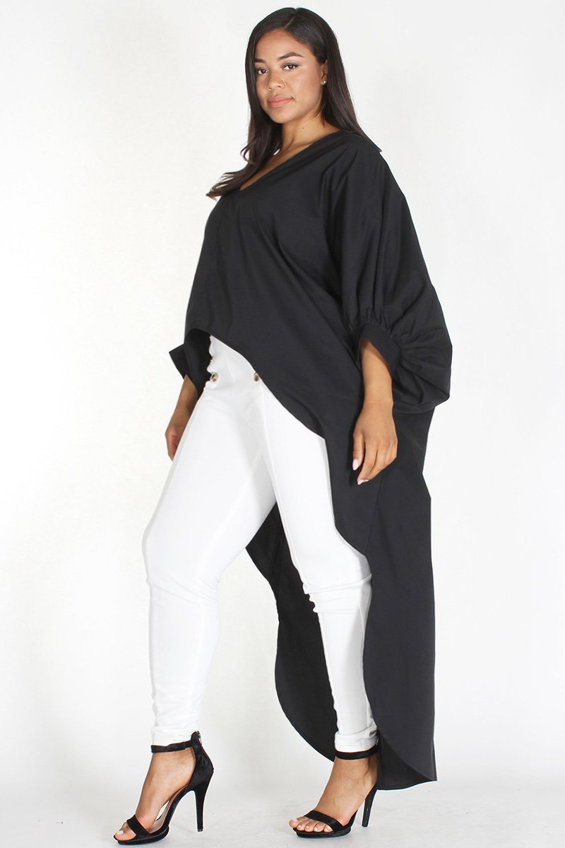 Plus Size Solid Hi-Lo Maxi Dolman Sleeve Top