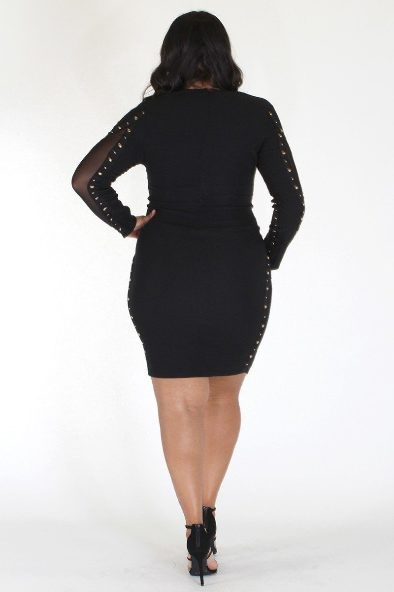 Plus Size Sexy Button Detail Mesh Sides Cocktail Dress