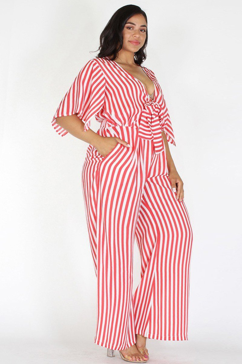 ecb71ef37e3 Plus Size Striped Front Tie Wide Leg Jumpsuit Red – slayboo