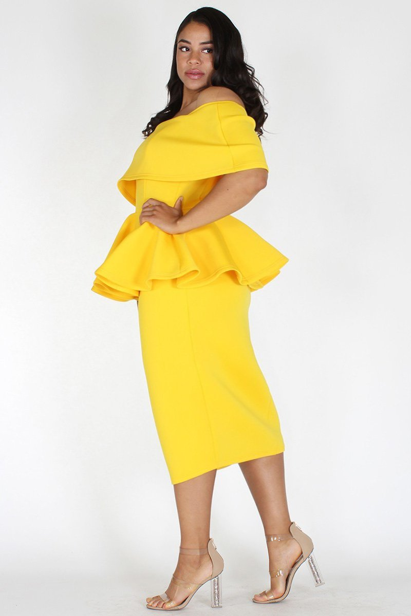Plus Size Off Shoulder Peplum Pencil Skirt Dress Yellow