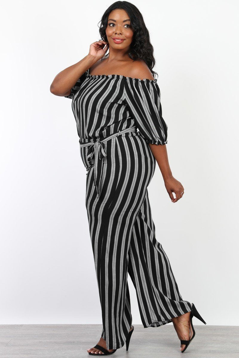 Plus Size Off Shoulder Sunday Stripe Jumpsuit