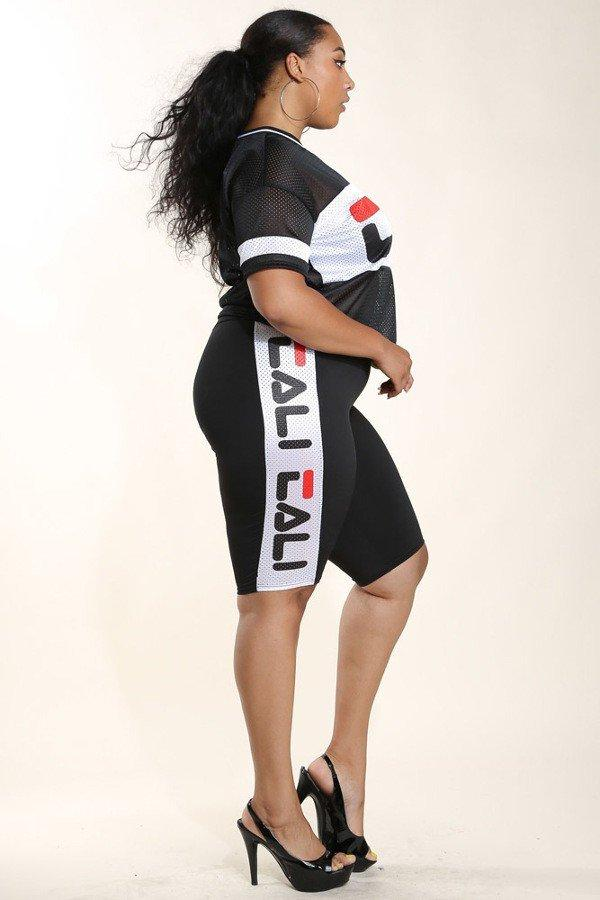 Plus Size New Football Mesh Foil Rib Shorts Dress Slayboo