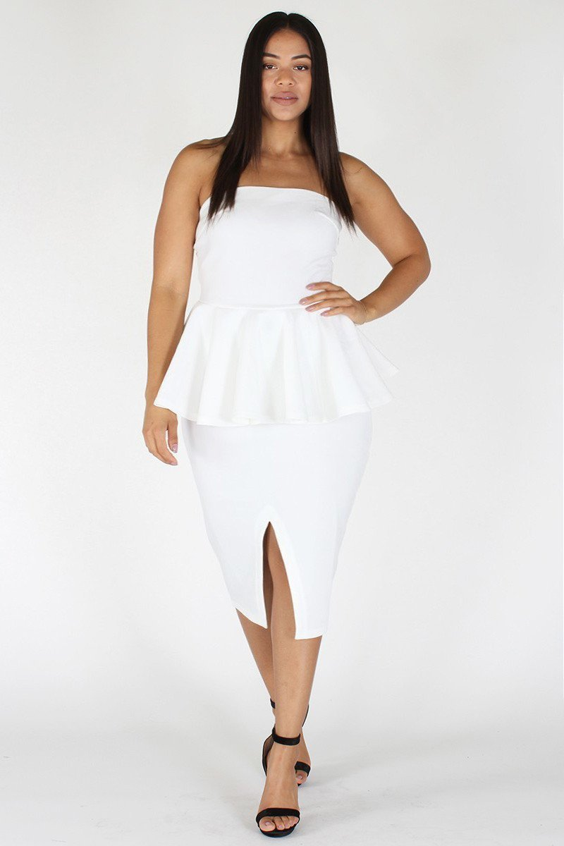 a4a941461cf Plus Size Off Shoulder Peplum Pencil Skirt Dress – slayboo