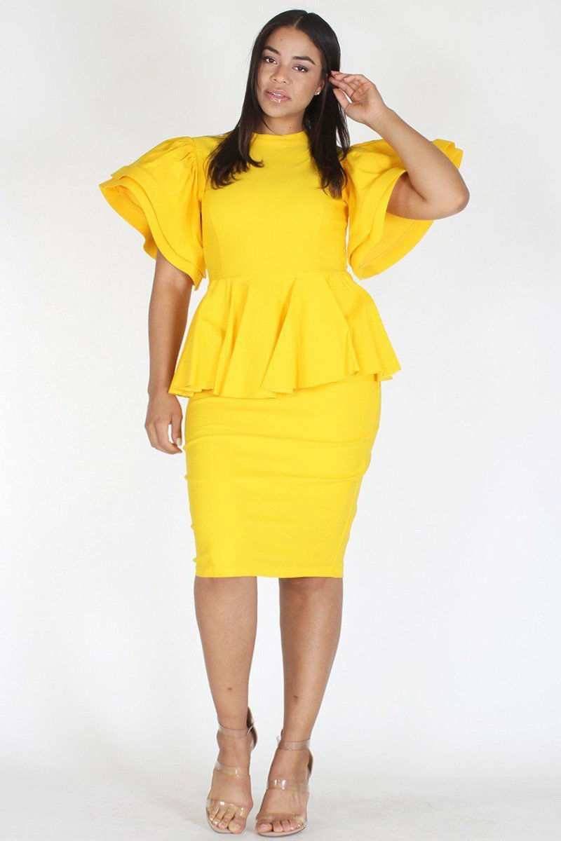 Plus Size Flare Sleeve Peplum Bodycon Dress Yellow