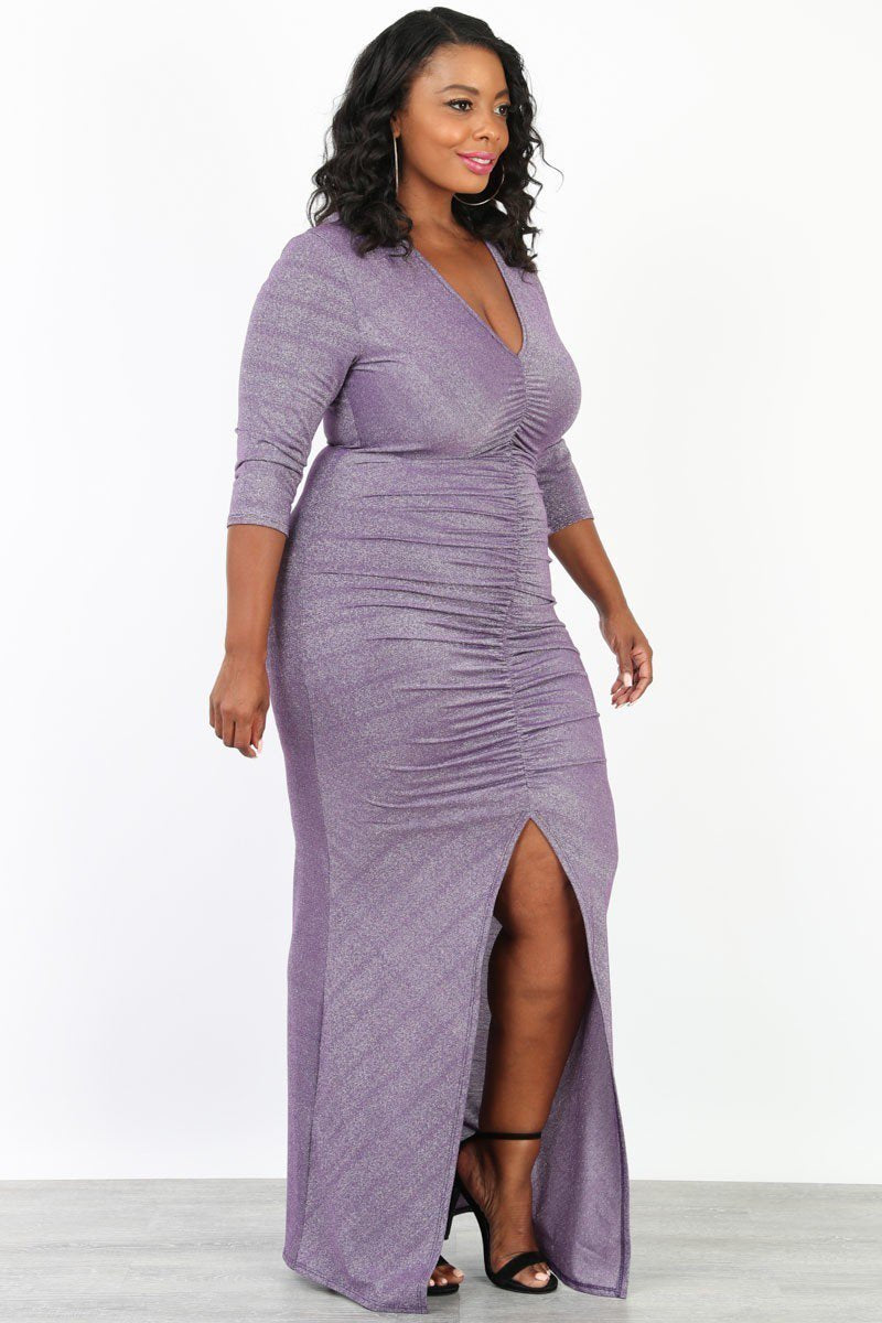 Plus Size Ruched V Neck Ruched Maxi Dress