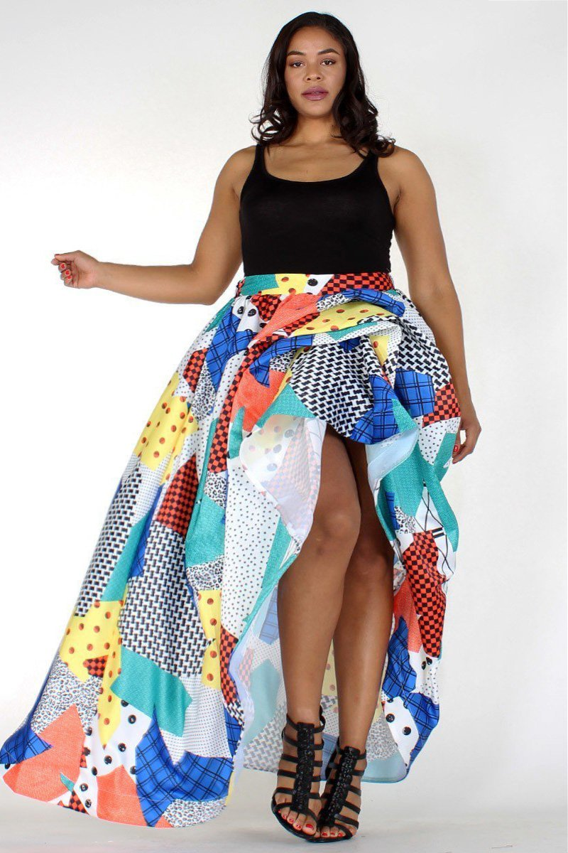 Plus Size Colorful Designer Patchwork Skirt [PRE-ORDER]