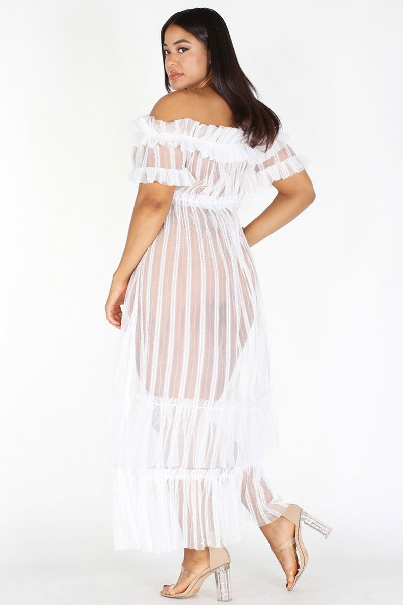 Plus Size Glam Sheer Maxi Mesh Ruffle Flare Dress – slayboo