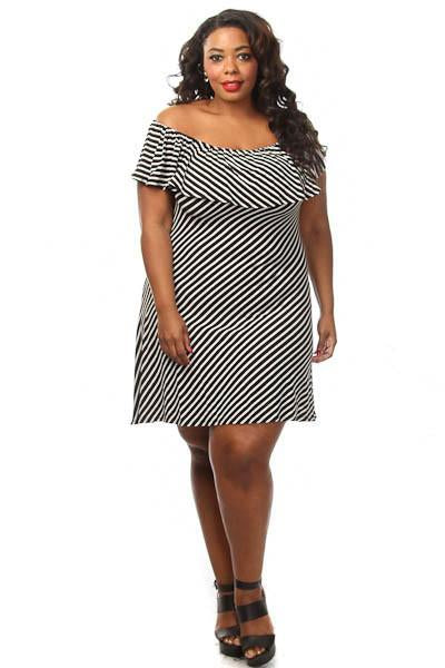Plus Size Glam Ruffled Off The Shoulder Dress