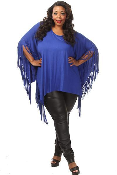 Plus Size Solid Pretty Flowy Fringe Trim Poncho
