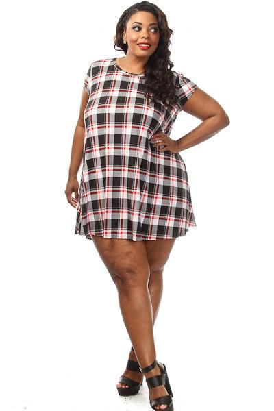 Plus Size Plaid Unique Print Shift Dress