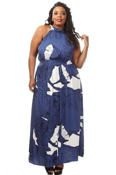 Plus Size Gorgeous Floral Unique Print Halter Top Maxi Dress
