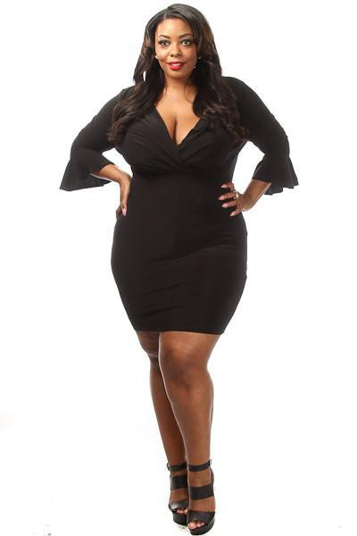 Plus Size V-neck Cute Flare Sleeve Mini Dress