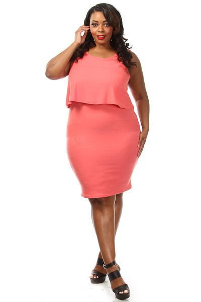 Plus Size Front Overlay Sexy Bodycon Dress