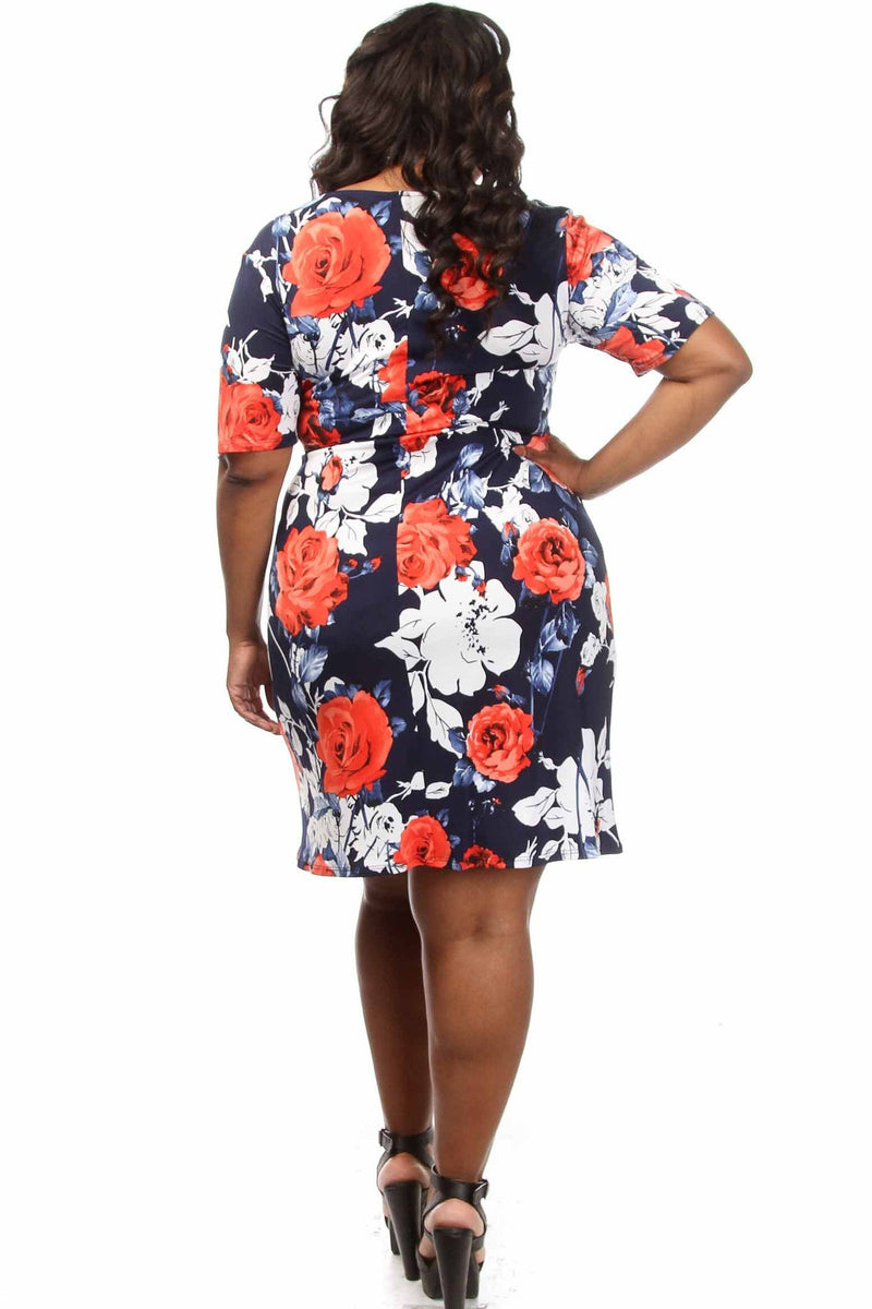 Plus Size Rose Unique Printed Twist Dress