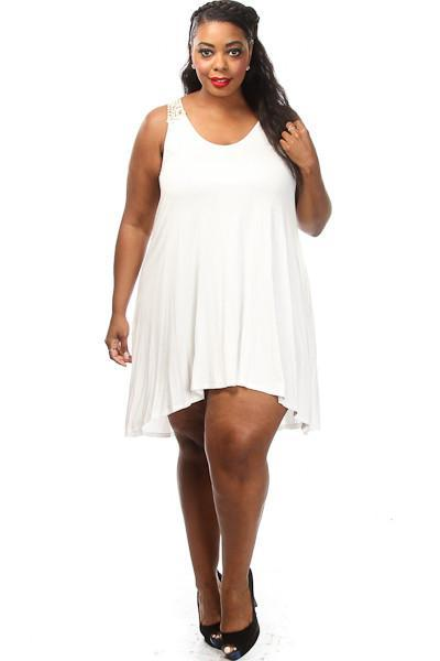 Plus Size Crochet Back Day Dress