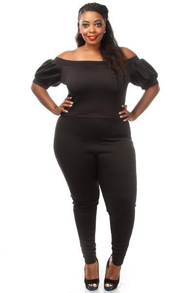 Plus Size Sexy Off Shoulder Puff Sleeve Catsuit