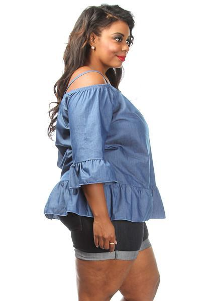 Plus Size Denim Off The Shoulder Glam Ruffle Top