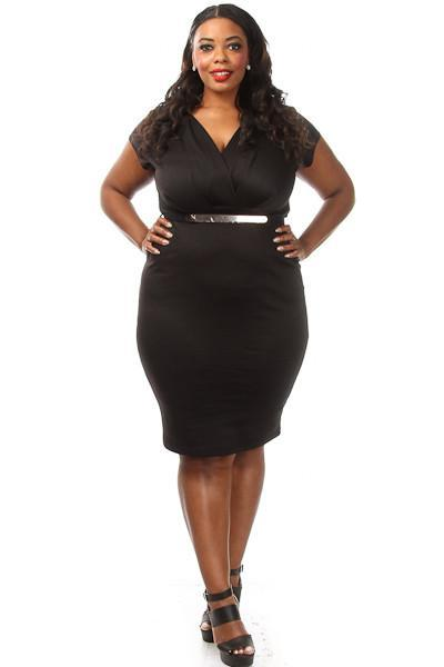 Plus Size V-neck Belted Mini Dress