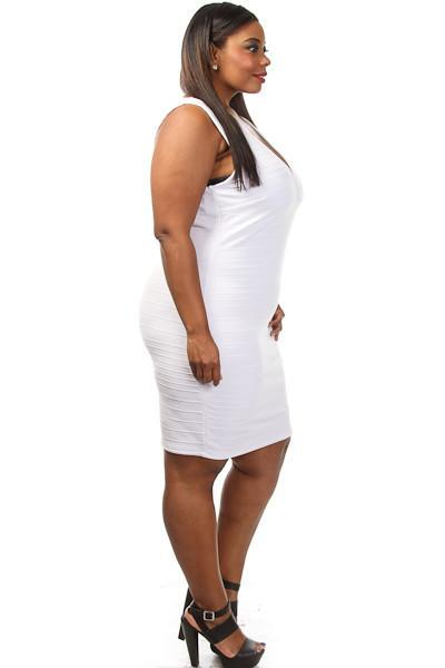 Plus Size Ribbed V-cut Sexy Bodycon Dress