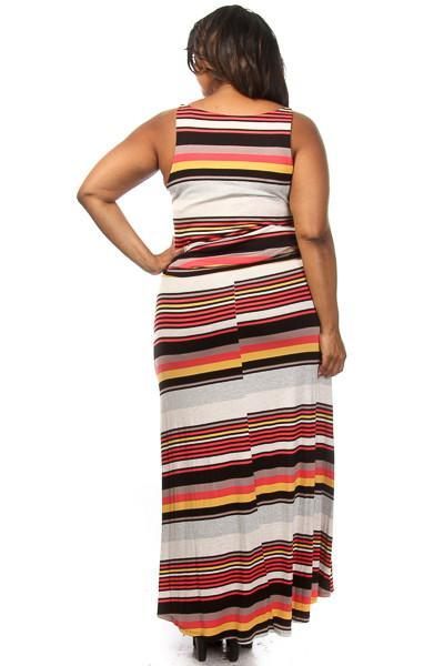 Plus Size Stripe Scoop Neck Maxi Dress