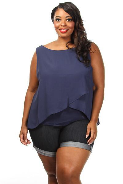 Plus Size Layered Chiffon Blouse