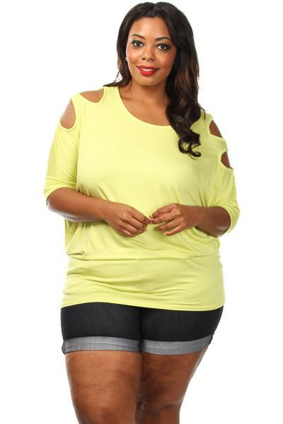 Plus Size Ladder Sleeve Dolman Top