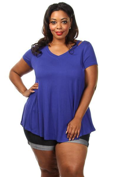 Plus Size Cute Flare V-neck Tee