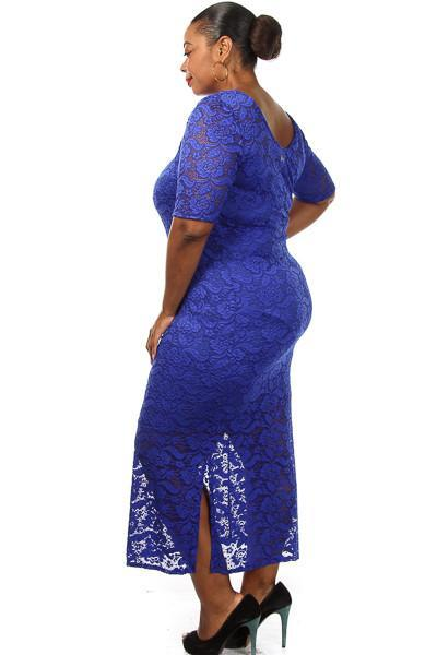 Plus Size Solid Sexy Lace Maxi Dress