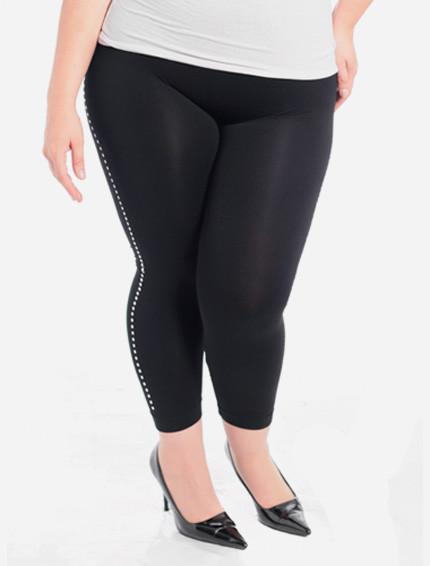 Plus Size Metal Stud Black Leggings
