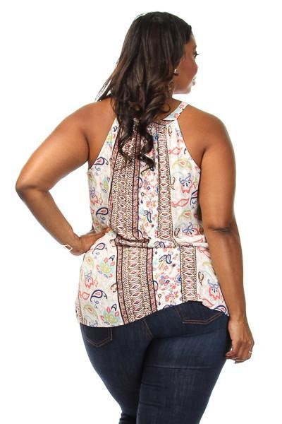 Plus Size Paisley Unique Print Loose Top